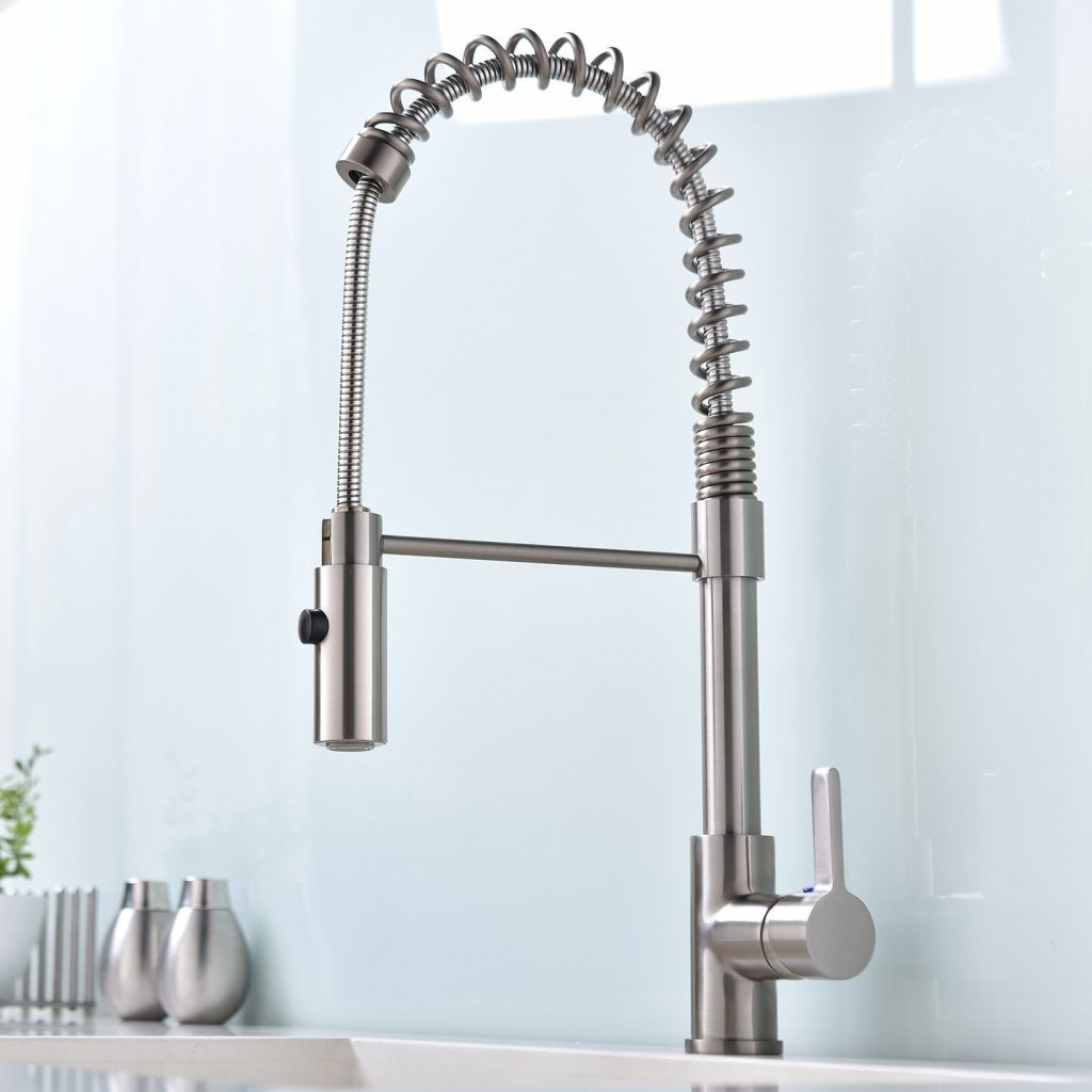 7. Ufaucet Commercial Modern High Arch Solid Brass Single Handle Pull Out Sprayer Brushed Nickel Kitchen Faucet, Pull Down Kitchen Sink Faucet With De
