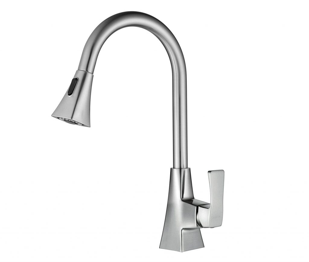 8. PARLOS Pull Down Kitchen Faucet, Single Handle High Arch Pull out Kitchen Sink Faucets Mixer Tap with Water Supply Lines, Brushed Nickel , Doris 13636
