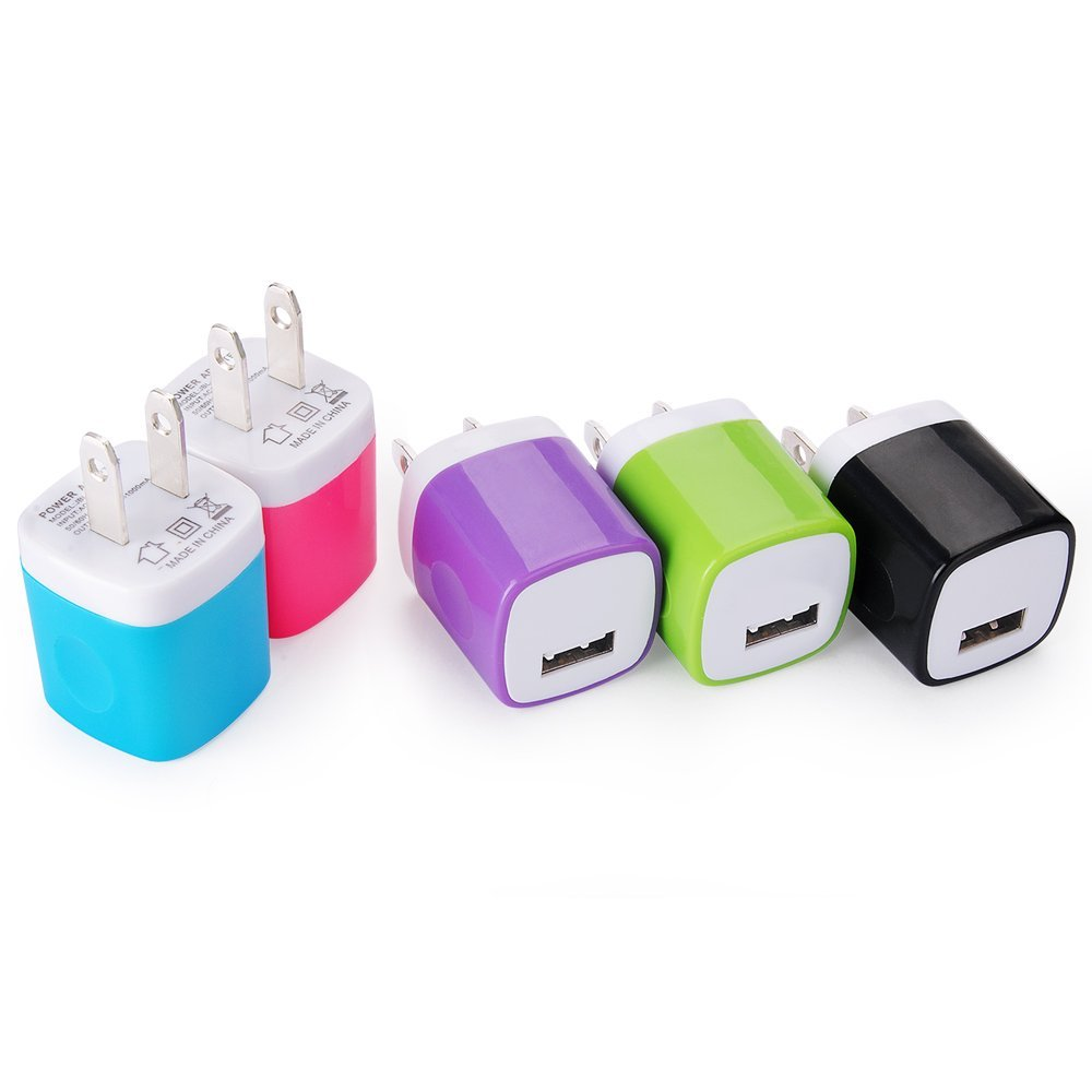 8. Wall Charger, Kakaly 5-Pack Universal Home Travel USB 1 Amp Wall Charger AC Power Charging Adapter Plug