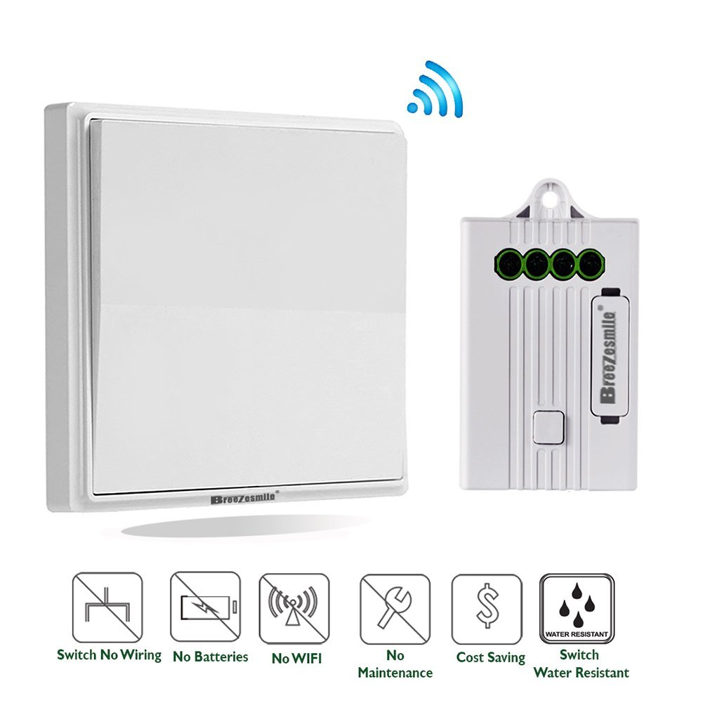 8. Wireless Wall Light Switch Kit, Remote Light Switch - No Battery No WiFi No Wiring- Quick Add or Relocate