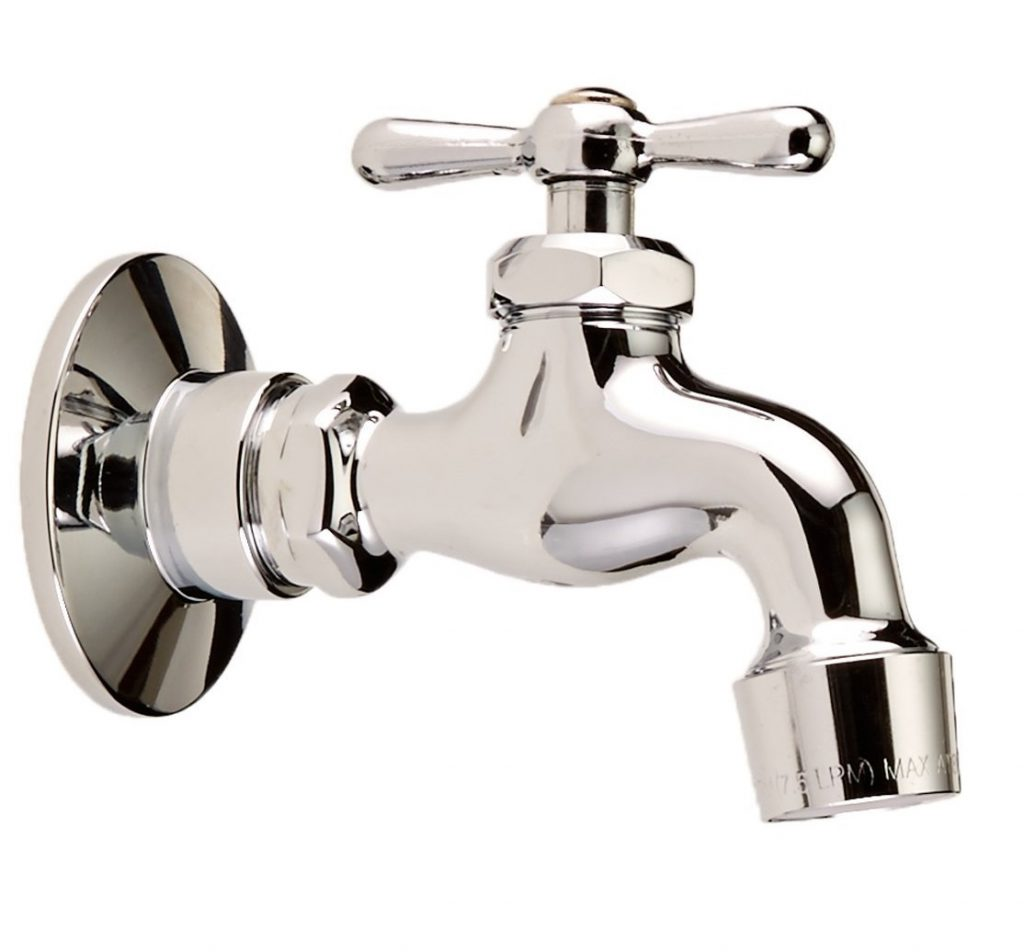 9. Homewerks 3210-161-CH-B-Z Single Handle Wall-Mount Faucet with Aerator and Flange, Chrome