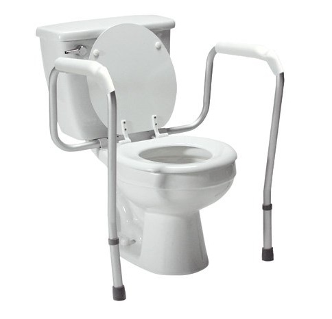9. Lumex 6465A-1 Versaframe Toilet Safety Rail with Adjustable Height, Brown Box