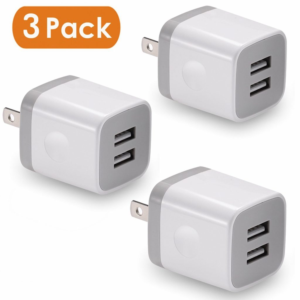 9. USB Wall Charger, BEST4ONE Dual Port USB Plug Power Adapter Charging Cube