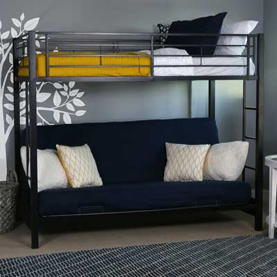 7. Walker Edison Twin-Over-Futon Metal Bunk Bed