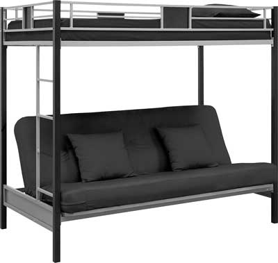 6. DHP Silver Screen Twin-Over-Futon Metal Bunk Bed