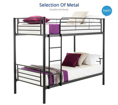 9. Mecor Twin over Twin Metal Bunk Beds Frame - Bedroom Furniture for Kids and Adults