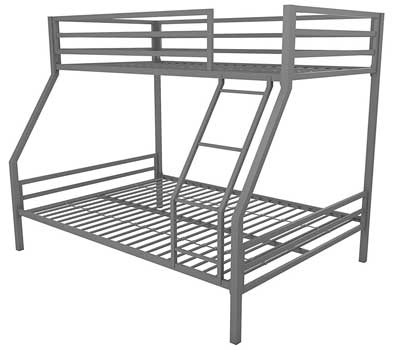 10. Novogratz Maxwell Twin/Full Metal Bunk Bed with Safety Rails