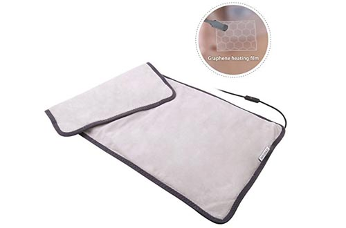 Graphene Far Infrared Electric Heating Pad, 3 Heat-Settings/ 12 Volt Output, Super Soft 12*24 Inches Full Body Large Heating Pad for Cramps Back Pain Relief
