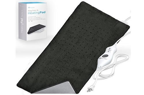 "XL Heating Pad - Moist and Dry Electric Heating Pad with Ultra Fast Heat Technology for Back / Legs / Neck and Shoulders - Navy Gray (12"" x 24""), GENIANI"