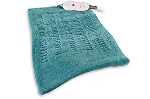 """Sunbeam King-Size Microplush/SoftTouch Heating Pad, 4 Heat Settings, 2-Hour Auto-Off, Digital LED Controller, 12"""" x 24"""", Teal"""
