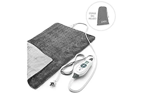 """PureRelief XL - King Size Heating Pad with Fast-Heating Technology, 6 Temperature Settings & Convenient Storage Bag - Charcoal Gray (12"""" x 24"""")"""