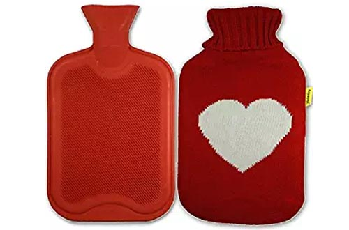 AQUAPAPA Large 1/2 Gallon Classic Non toxic Natural Rubber Hot Water Bottle with Big Heart Red Knit Cover , 2 Liters