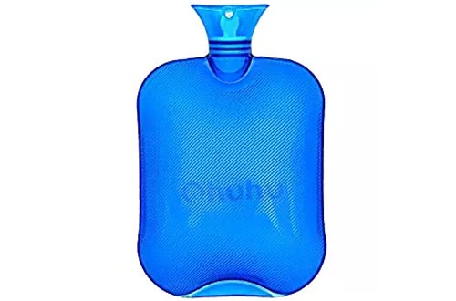 Ohuhu 2L Hot Water Bottle For Pain Relief Hot Therapy Classic Transparent Blue Hot Water Bottles
