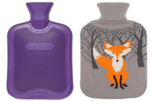 Premium Classic Rubber Hot Water Bottle w/ Cute Knit Cover (2 Liter, Purple / Gray with Fox)