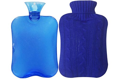 Attmu Classic Rubber Transparent Hot Water Bottles 2 Liter with Knit Cover - Blue
