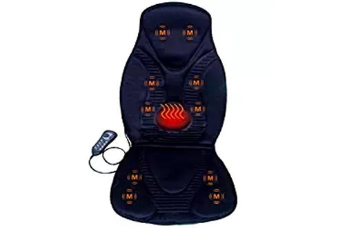 FIVE S FS8812 10-Motor Vibration Massage Seat Cushion with Heat - Neck - Shoulder - Back & Thigh Massager with Heat (Black)