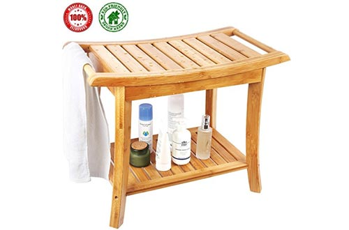 Shower Bench, Spa Seat With 2-Tire Storage Racks Shelf, Durable and Stable Indoor &Outdoor Bench with 100% Bamboo, Nice Curving Bench- by Ecobambu