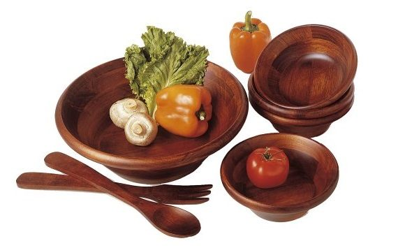 1. Lipper International 290-7 Cherry Finished Round Rim Serving Bowls with Server Utensils, 7-Piece Set, Assorted Sizes