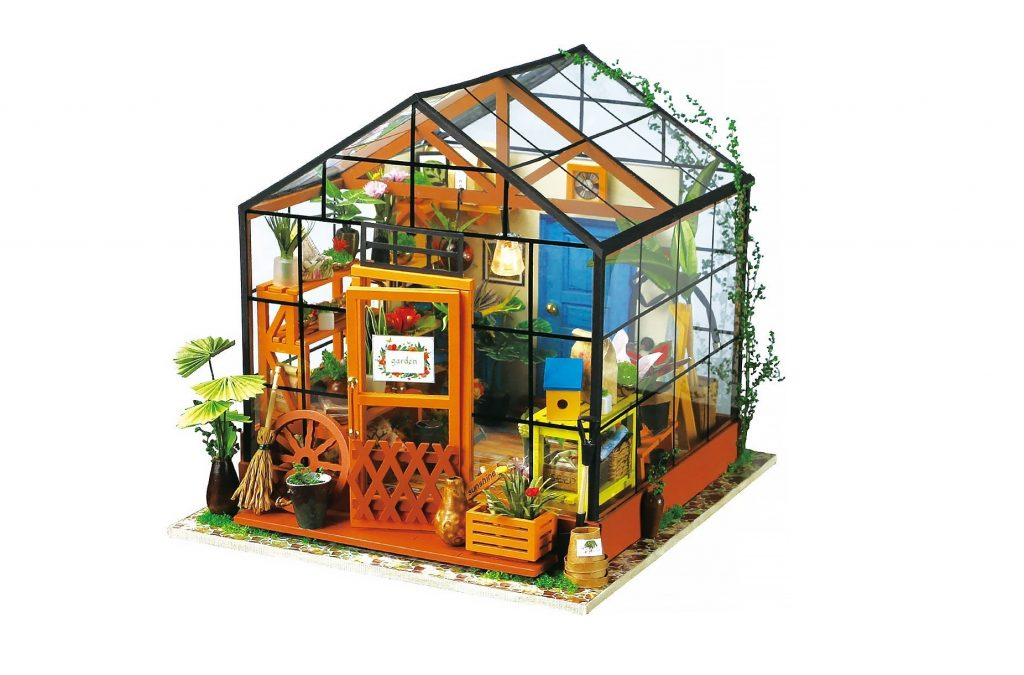 1. ROBOTIME DIY Dollhouse Wooden Miniature Furniture Kit Mini Green House with LED Best Birthday Gifts for Boys & Girls