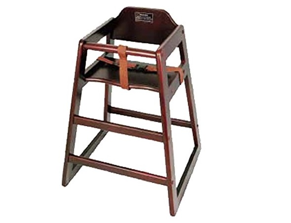 1. Winco CHH-103 Unassembled Wooden High Chair, Mahogany