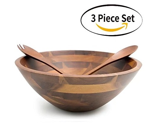 10. Aidea 12.5 Inch Large Serving Wooden Salad Bowls with Servers Set, Acacia Wood, 3 pieces