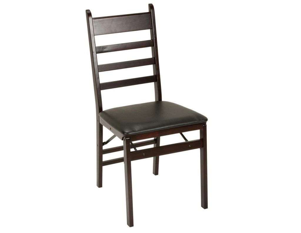 2. Cosco 2-Pack Wood Folding Chair with Vinyl Seat and Ladder Back, Espresso