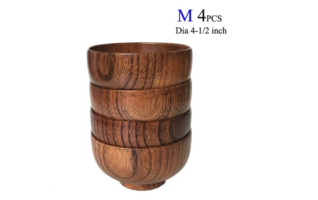 2. Cospring Set of 4 Solid Wood Bowl, 4.5 inch Dia by 2-5