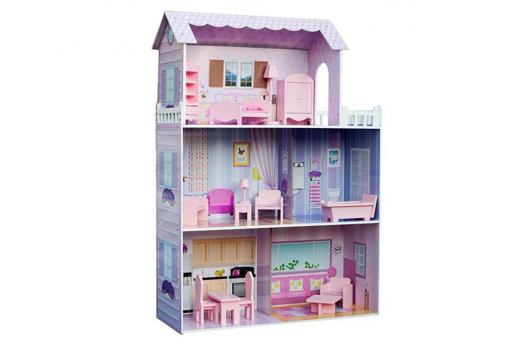 2. Teamson Kids - Fancy Mansion Wooden Doll House with 13 pcs Furniture for 12 inch Dolls