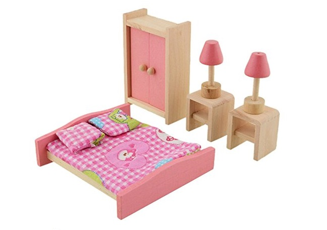 3. Vktech® Wooden Dollhouse Funiture Kids Child Room Set Play Toy (Bedroom)