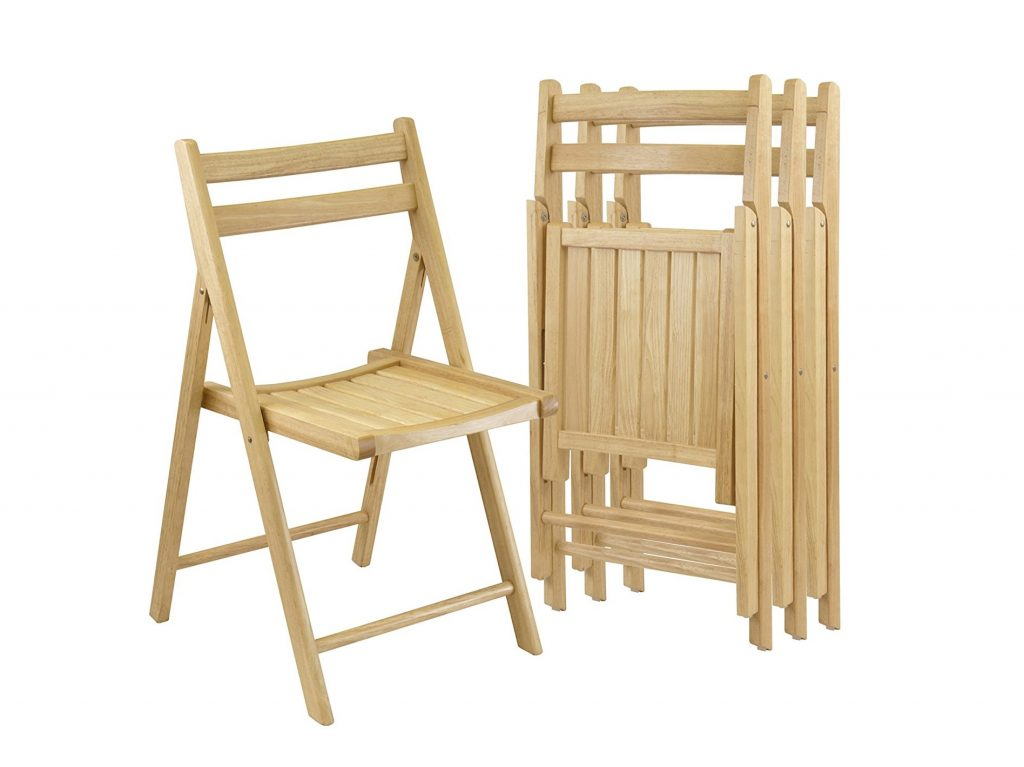 3. Winsome Wood Folding Chairs, Natural Finish, Set of 4