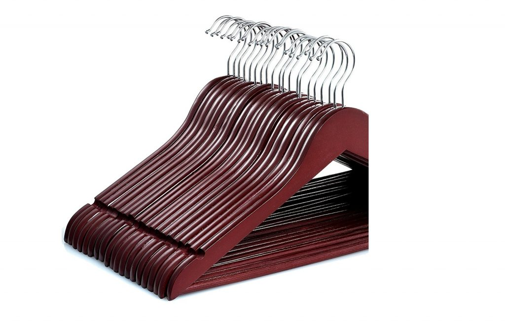 3. Zober Solid Cherry Wood Suit Hangers -20 Pack - with Non Slip Bar and Precisely Cut Notches