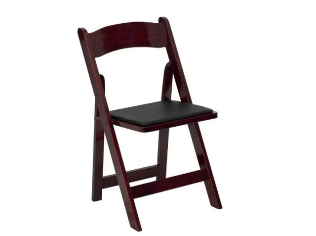 4. Flash Furniture HERCULES Series Mahogany Wood Folding Chair with Vinyl Padded Seat