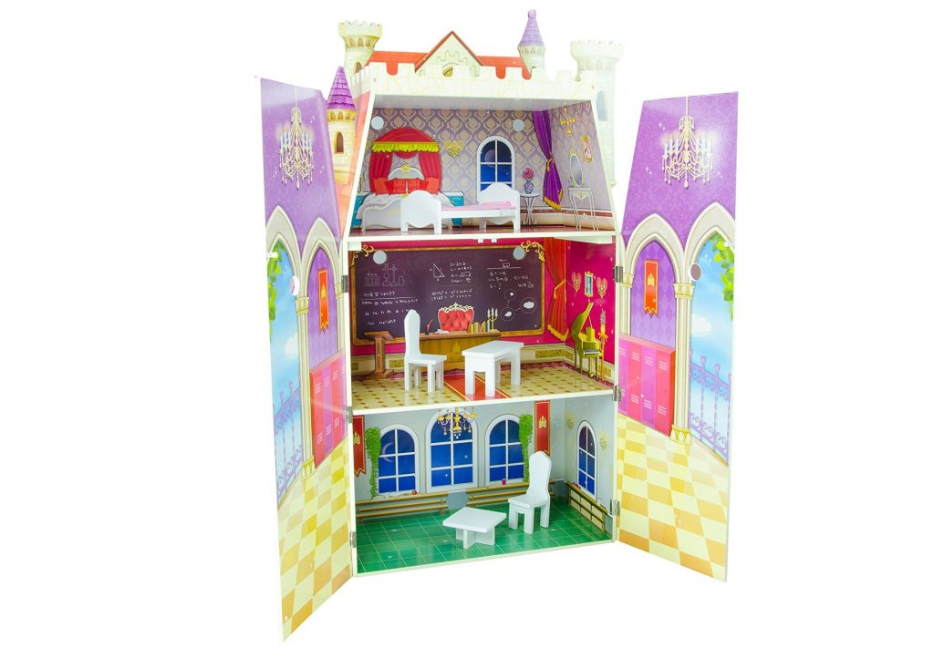4. Teamson Kids - Fancy Castle Wooden Doll House with 5 pcs Furniture for 12 inch Dolls