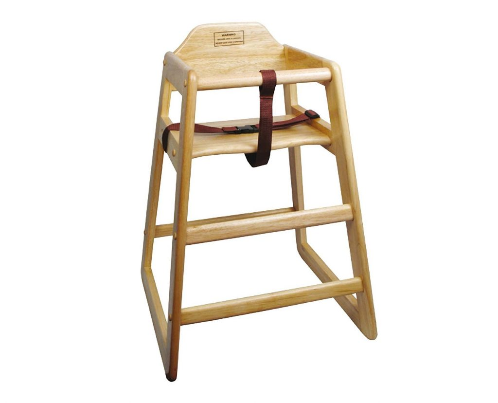 4. Winco CHH-101 Unassembled Wooden High Chair, Natural