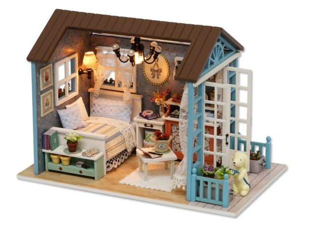 5. Cutebee Mini Wooden Dollhouse with Furnitures DIY Assembling House Miniature Crafts Toys for Children and Teens.(Plus Dust Proof And Music Box)(forest time)