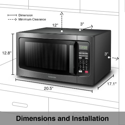Toshiba EM131A5C-BS Microwave Oven, 1.2 Cu.ft, Black Stainless Steel