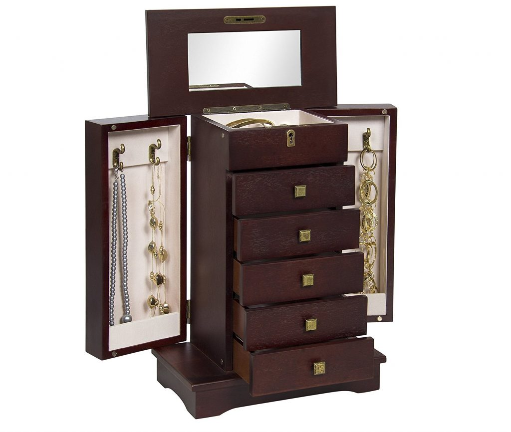6. Best Choice Products Handcrafted Wooden Jewelry Box Organizer Wood Armoire Cabinet- Brown