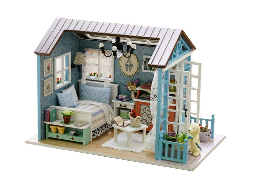 6. Handmade Miniature Dollhouse 3D Wooden DIY Kit Mini House Craft with Light Festive Christmas Birthday Gift - Blue Countryside