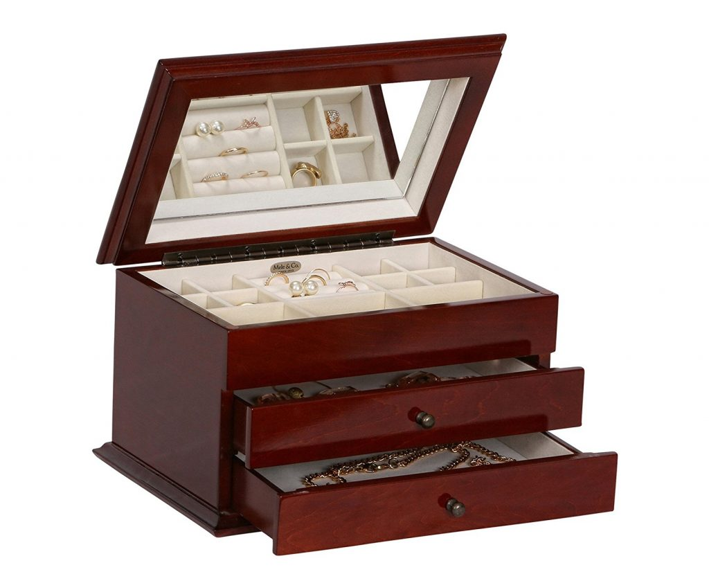 7. Mele & Co. Brayden Wooden Jewelry Box with Floral Marquetry Motif (Walnut Finish)