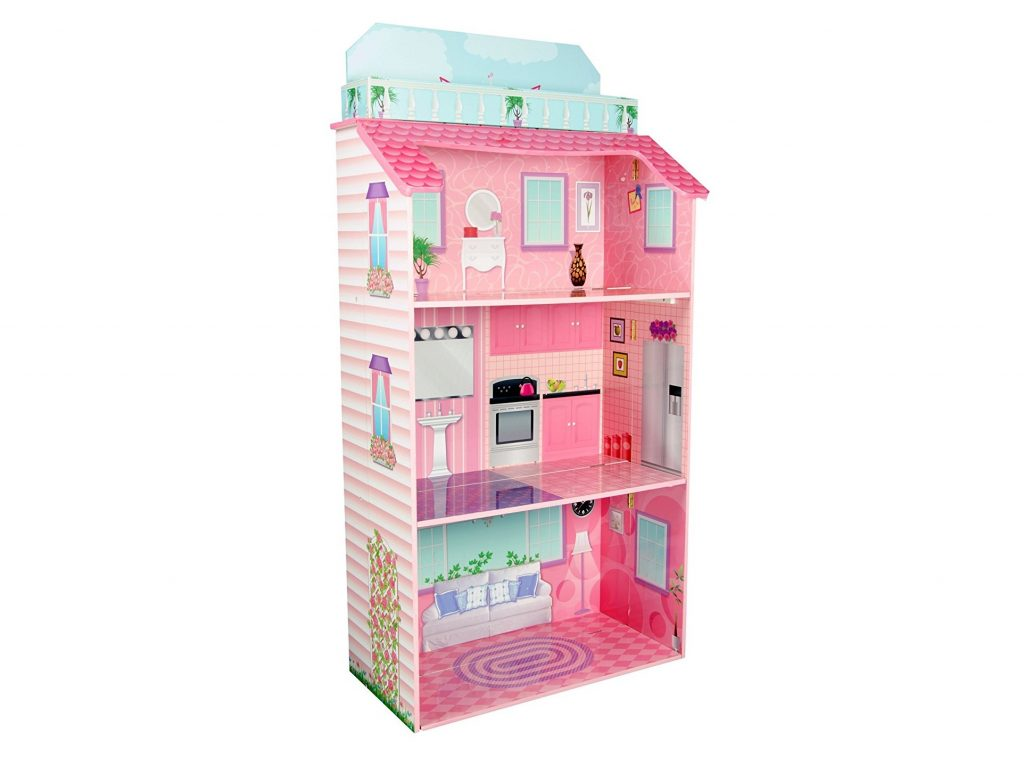 7. Teamson Kids - Foldable Wooden Doll House with 8 pcs Furniture for 12 inch Dolls