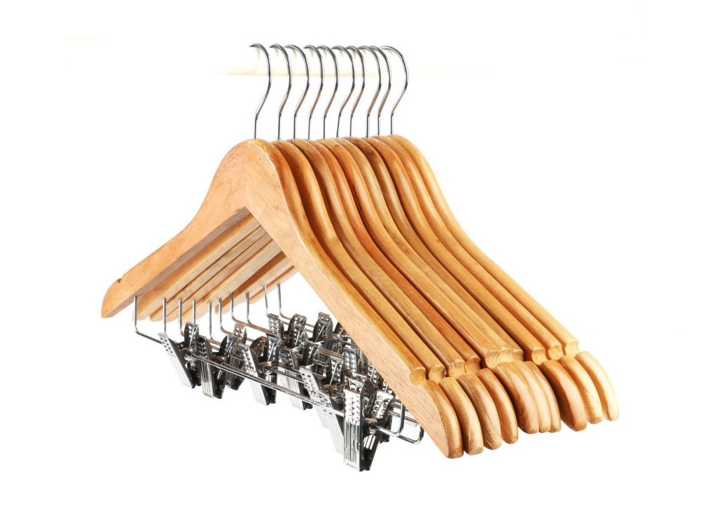 7. Tosnail 10-Pack Wooden Pant Hanger, Wooden Suit Hangers with Steel Clips and Hooks, Natural Wood Collection Skirt Hangers, Standard Clothes Hangers