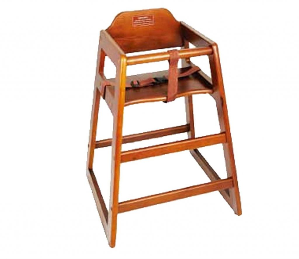 7. Winco CHH-104 Unassembled Wooden High Chair, Walnut