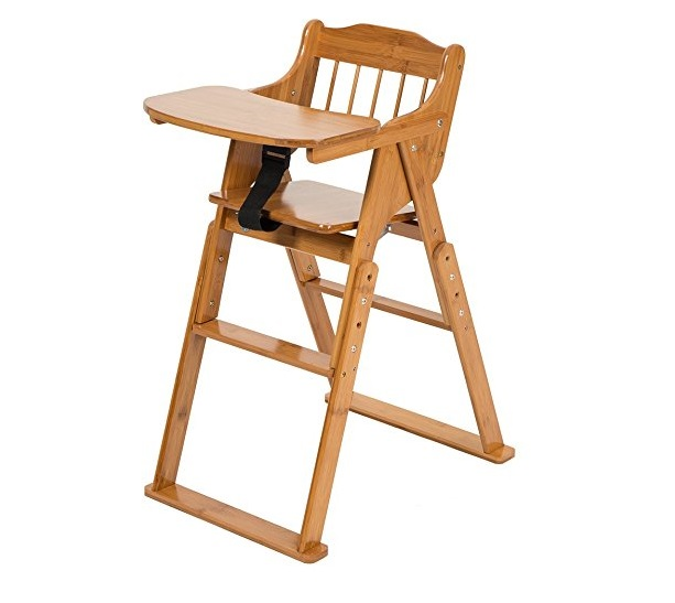 8. ELENKER Baby Wood High Chairs, Folding Bamboo High Chairs with Tray Adjustable Height Chair