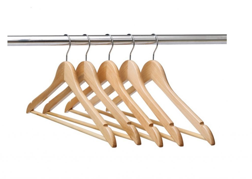8. Ezihom Gugertree Solid Wooden Suit Hangers, Coat Hangers, Wood Clothes Hanger, Natural Finished, 10 Pack