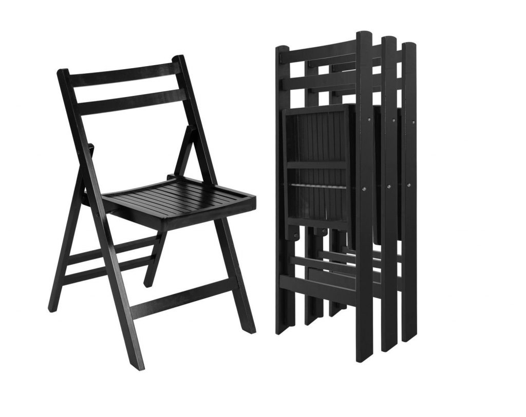 8. Giantex 4 Pcs Solid Wood Folding Chairs Ergonomic Slatted Seat Backrest Wedding Patio Garden Home Furniture (Black)