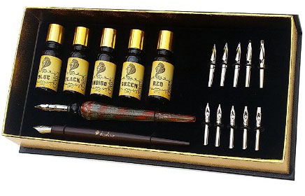 Daveliou Calligraphy Pen Set - 19-Piece Kit - FREE Glass Pen - 12 Nib & 5 I