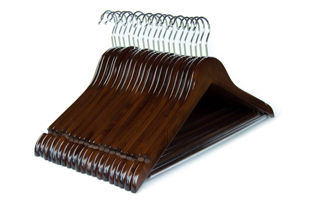 9. Clutter Mate (Set of 20) Premium Finished Wood Clothes Hangers Walnut Wooden Coat Hangers
