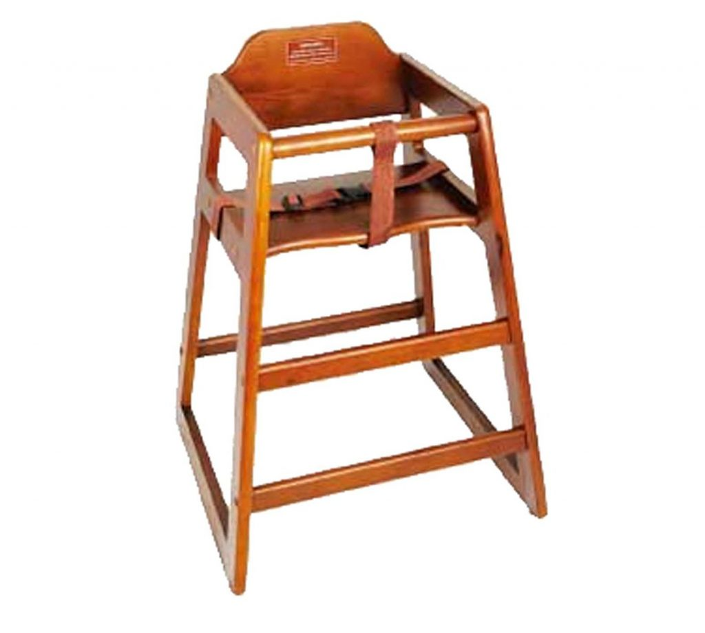 9. Winco CHH-104 Unassembled Wooden High Chair, Walnut