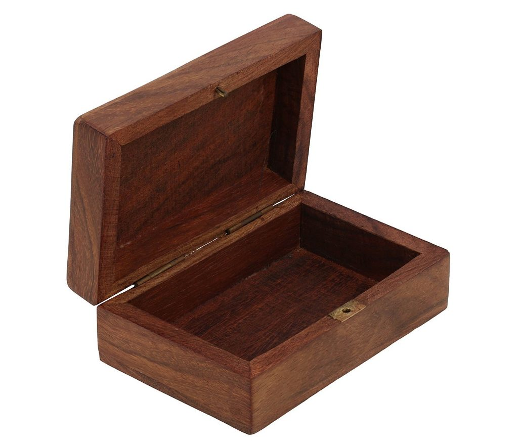 9. Wooden Trinket Jewelry Box, Sleek and Simple Gift for Women, 4 X 2.5 X 1.5 Inches