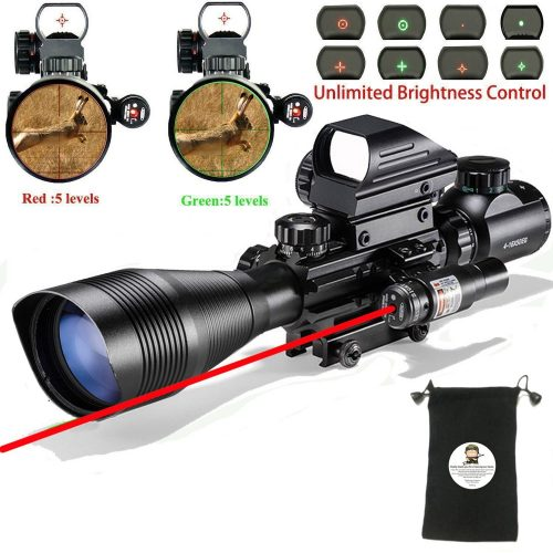 AR15 Tactical Rifle Scope C4-12x50EG 3 in 1 Hunting Dual Illuminated with Red Laser